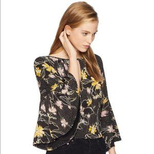 Free People • Last Time Black Yellow Floral Blouse